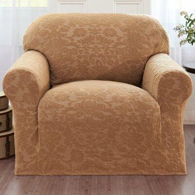 Velvet Damask Armchair Cover Color: Beige