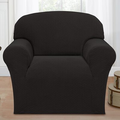 Box Cushion Armchair Slipcover Color: Charcoal