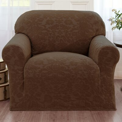 Velvet Damask Armchair Cover Color: Brown