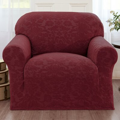 Damask Box Cushion Armchair Slipcover Color: Burgundy