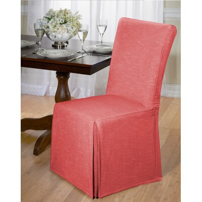 Cotton Dining Chair Slipcover Upholstery: Red