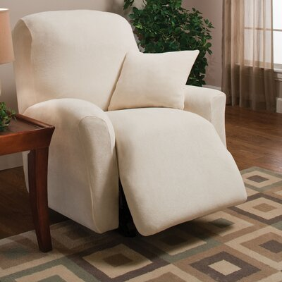 Stretch Microfleece Box Cushion Recliner Slipcover Upholstery: Ivory