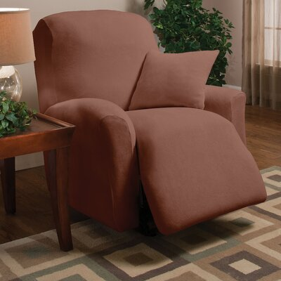 Stretch Microfleece Box Cushion Recliner Slipcover Upholstery: Brown