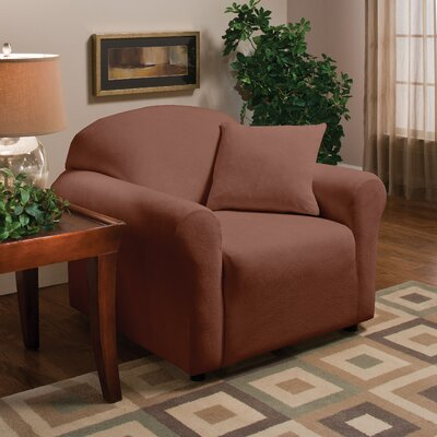 Stretch Microfleece Box Cushion Armchair Slipcover Upholstery: Brown