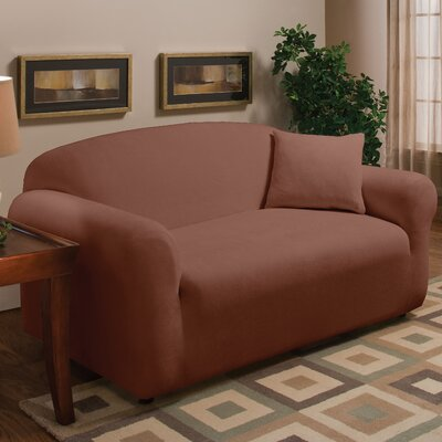 Stretch Microfleece Box Cushion Loveseat Slipcover Upholstery: Brown