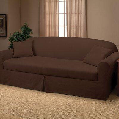 Microsuede 2-Piece Sofa Slipcover Upholstery: Chocolate