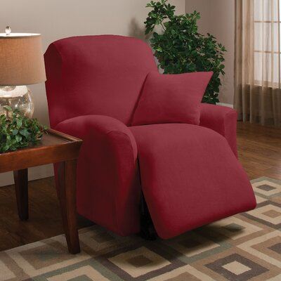 Stretch Microfleece Box Cushion Recliner Slipcover Upholstery: Burgundy