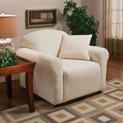 Stretch Microfleece Box Cushion Armchair Slipcover Upholstery: Natural