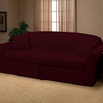 Microsuede 2-Piece Sofa Slipcover Upholstery: Ruby
