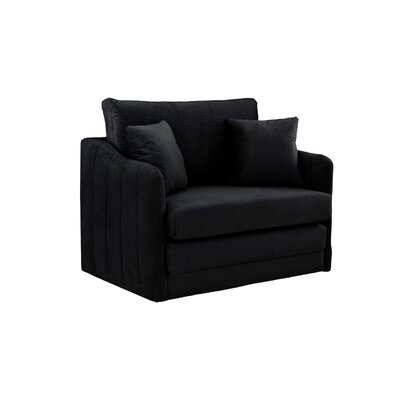 Traditional Velvet Loveseat Upholstery: Black