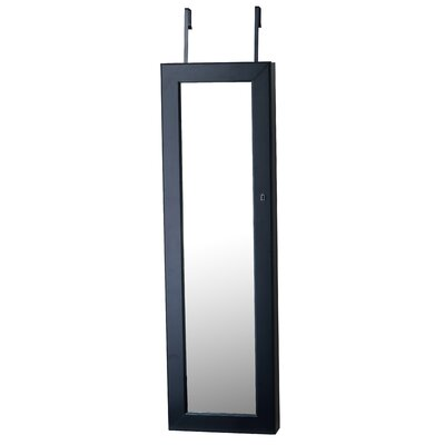 Callihan Over The Door Jewelry Armoire with Mirror Color: Black