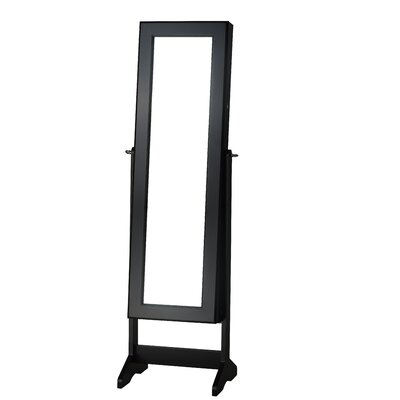 Cheval Jewelry Armoire with Mirror Color: Black