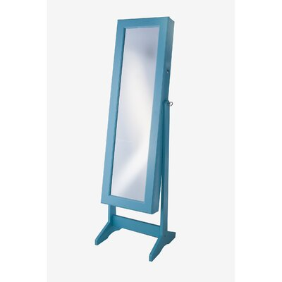 Cheval Jewelry Armoire with Mirror Finish: Turquoise