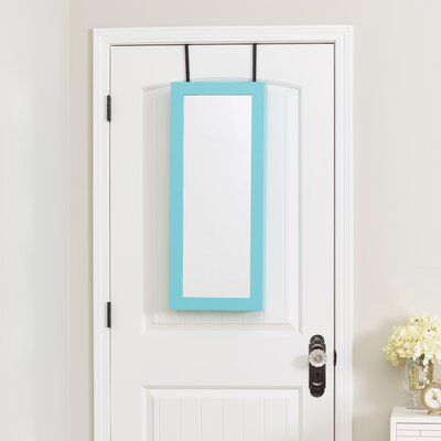 Space Saver Over the Door Jewelry Armoire with Mirror Finish: Turquoise