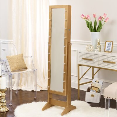 Lorna Free Standing Jewelry Armoire with Mirror Color: Gold