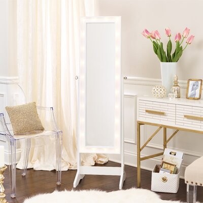Lorna Free Standing Jewelry Armoire with Mirror Finish: White