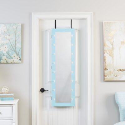 Ola Over The Door Jewelry Armoire with Mirror Color: Turquoise