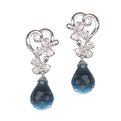 Blue Topaz Flower Rhodium Plated (.925) Sterling Silver Earrings
