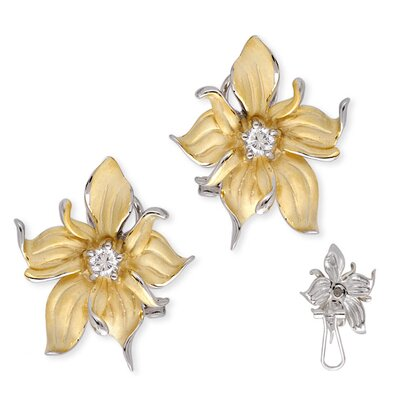 Satin Gold Vermeil Silver Diamond Evening Flower Earrings