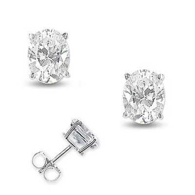 2 CT TW Diamond Oval Basket Setting Earrings