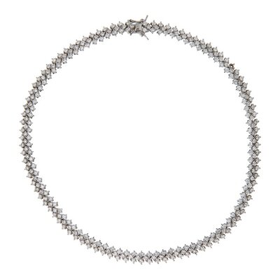 Bridal Three Row Prong Set Tennis Sterling Silver Necklace