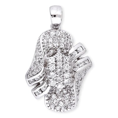 Pave Diamond Platinum Plated Bridal Pendant