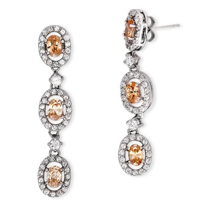 Prong-Set Simulated Champagne Cubic Zirconia Diamond Trio Oval Drop Earrings