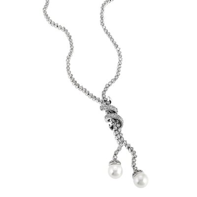 Bridal Cubic Zirconia Pave Diamond's Silver Drop Lariat Pearl Necklace