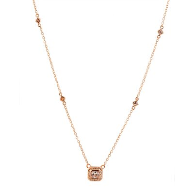 Rozzato Sterling Silver and Cubic Zirconia Plated Square Drop Pendant with Diamond by the Yard Chain - Color: Rose at Sears.com