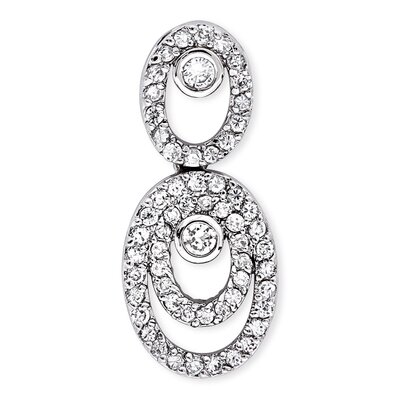 Bridal Nested Oval Drop Cubic Zirconia Diamond Sterling Silver Pendant