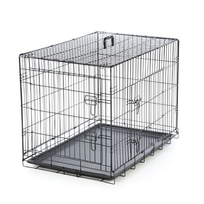 Foldable 2 Door Pet Crate Size: Medium (27 H X 24 W X 36 L)