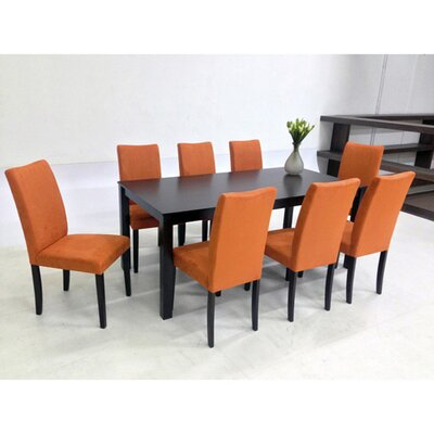 Juno 9 Piece Dining Set Chair Finish: Orange