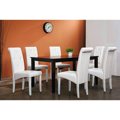 Tiffany 7 Piece Dining Set Chair Finish: White