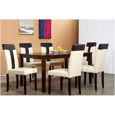 Tiffany 7 Piece Dining Set Chair Finish: Brown / Cream