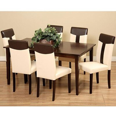 Tiffany 7 Piece Dining Set Chair Finish: Cream / Brown