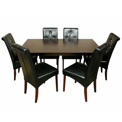 Tiffany 7 Piece Dining Set Chair Finish: Black