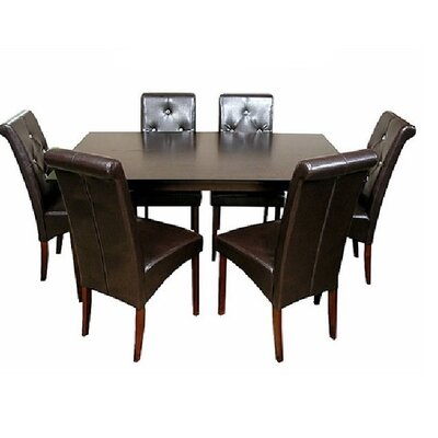 Tiffany 7 Piece Dining Set Chair Finish: Brown