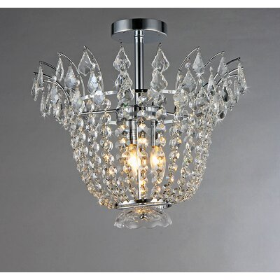 Astrid 4-Light Crystal Semi Flush Mount