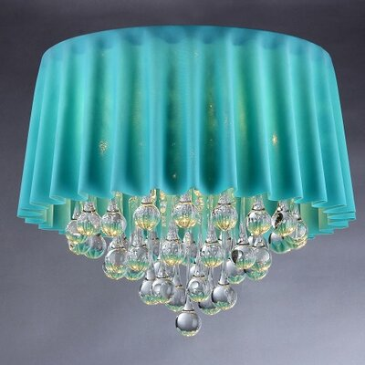 5-Light Crystal Chandelier Finish: Chrome, Shade Color: Sky