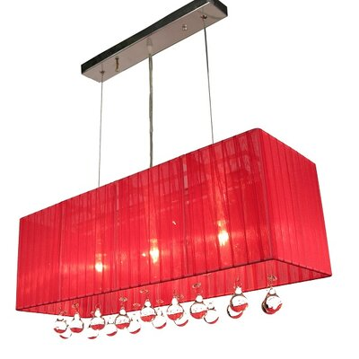 Bough 3-Light Kitchen Island Pendant Color: Red