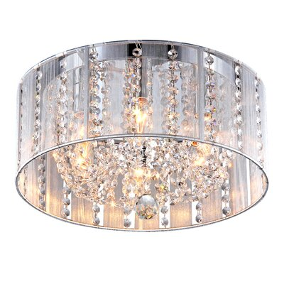 Addison White 16-inch Crystal 4-Light Flush Mount