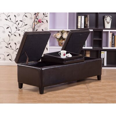 Eleesha Leather Storage Ottoman Upholstery Color: Brown