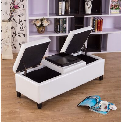Eleesha Leather Storage Ottoman Upholstery Color: White
