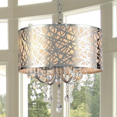 Abstract 4-Light Crystal Chandelier