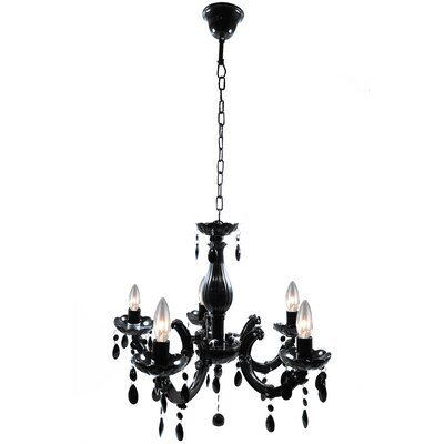 5-Light Crystal Chandelier Finish: Black