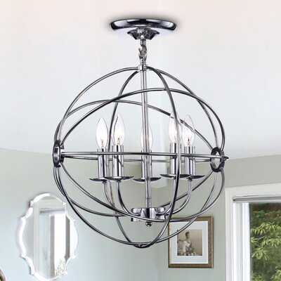 Douglass 5-Light Globe Pendant Finish: Chrome