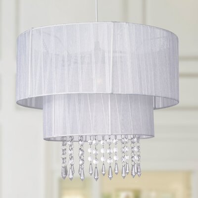 Eluana 1-Light Crystal Drum Pendant