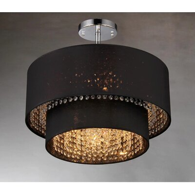 Matthea 6-Light Semi-Flush Mount Finish: Black, Size: 14 H x 18 W x 18 D