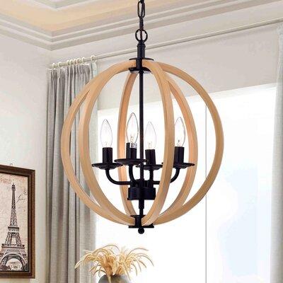 4-Light Globe Pendant Size: 49 H x 16 W x 16 D
