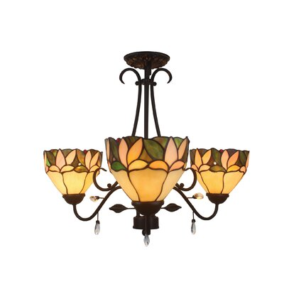 Apple Leafy Tiffany 3-Light Shaded Chandelier